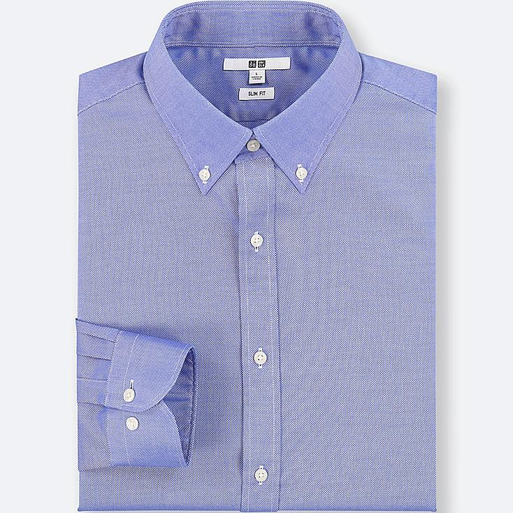 MEN EASY CARE OXFORD STRETCH SLIM-FIT LONG-SLEEVE SHIRT, BLUE, large