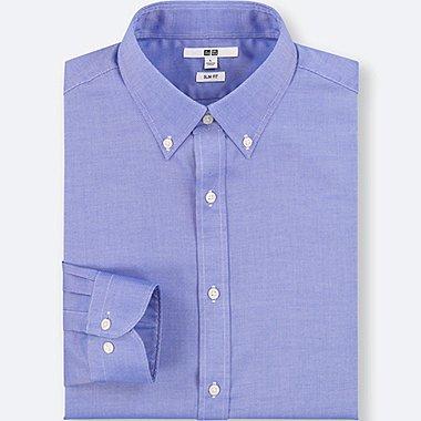 MEN EASY CARE OXFORD STRETCH SLIM-FIT LONG-SLEEVE SHIRT, BLUE, medium
