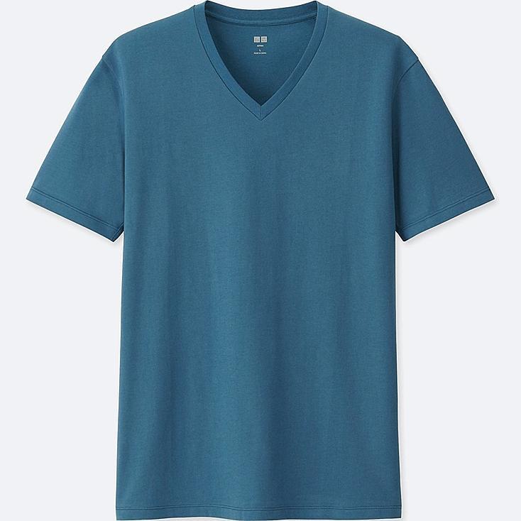MEN SUPIMA® COTTON V-NECK SHORT-SLEEVE T-SHIRT, BLUE, large