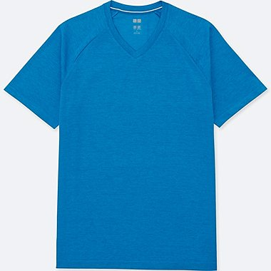 MEN DRY-EX V-NECK SHORT-SLEEVE T-SHIRT, BLUE, medium