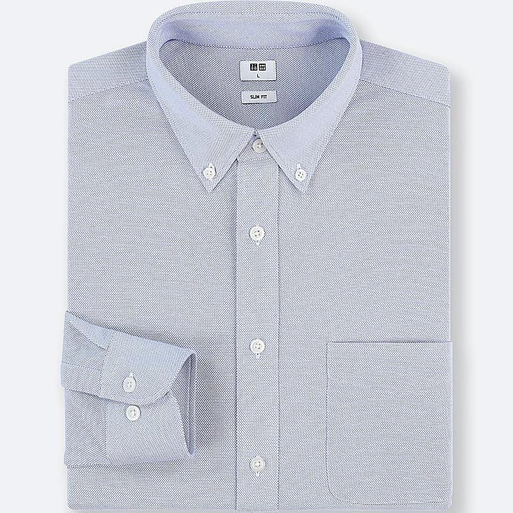 MEN EASY CARE COMFORT LONG SLEEVE SHIRT, BLUE, large