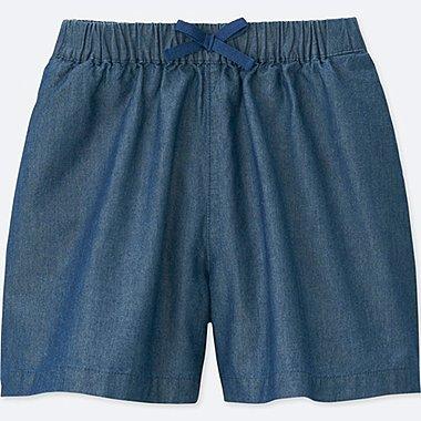 GIRLS CHAMBRAY EASY FLARE SHORTS, BLUE, medium