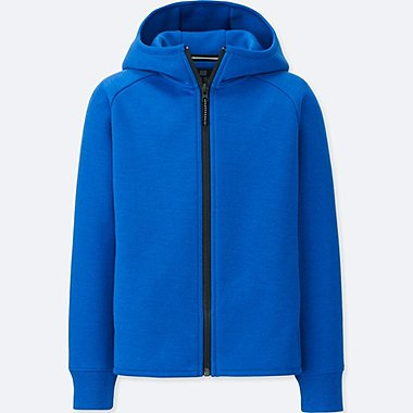 KIDS DRY STRETCH SWEAT LONG-SLEEVE FULL-ZIP HOODIE, BLUE, medium