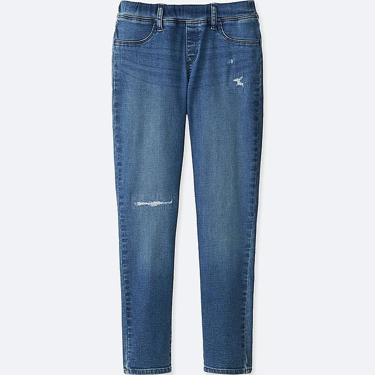 GIRLS ULTRA STRETCH DENIM LEGGINGS PANTS, BLUE, large