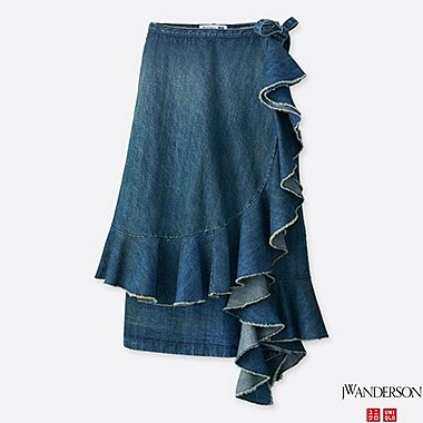 WOMEN J.W.ANDERSON Denim Ruffle Wrap Skirt