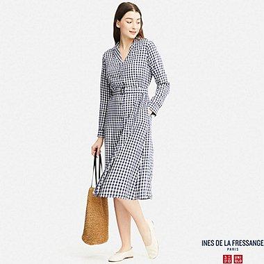 WOMEN IDLF RAYON SHIRT LONG-SLEEVE DRESS, BLUE, medium