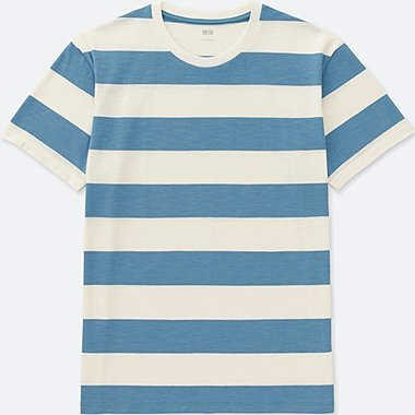 MEN 100% COTTON STRIPED CREW NECK SHORT SLEEVE T-SHIRT