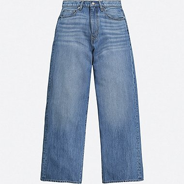 WOMEN HIGH-RISE WIDE-FIT JEANS, BLUE, medium