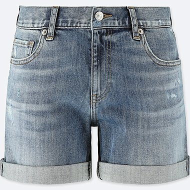 WOMEN DENIM BOYFRIEND SHORTS, BLUE, medium