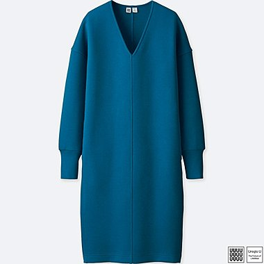 WOMEN U DOUBLE FACE LONG-SLEEVE DRESS, BLUE, medium