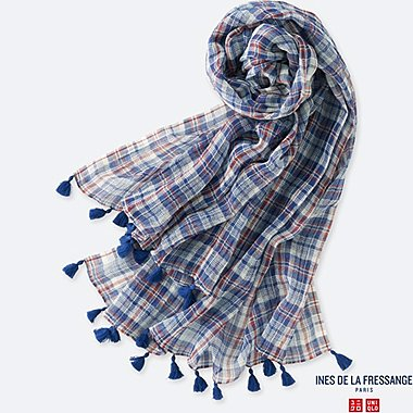 WOMEN IDLF COTTON LINEN STOLE, BLUE, medium
