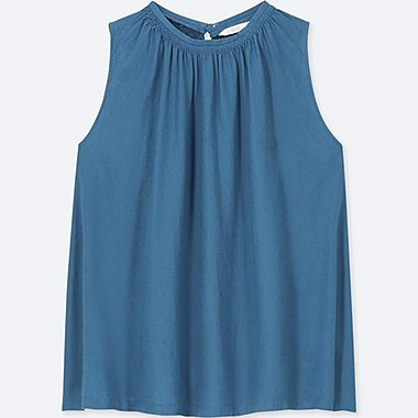 WOMEN LINEN BLENDED SLEEVELESS BLOUSE, BLUE, medium