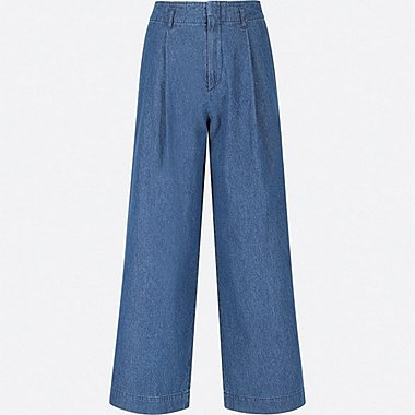 WOMEN HIGH WAIST WIDE LEG PANTS, BLUE, medium