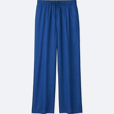 WOMEN DRAPE WIDE PANTS, BLUE, medium