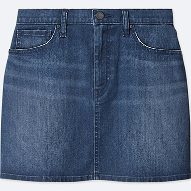 WOMEN HIGH-WAIST DENIM MINI SKIRT, BLUE, medium