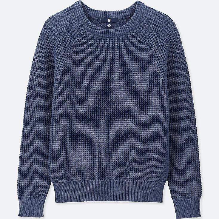 KIDS WAFFLE CREW NECK LONG-SLEEVE SWEATER, BLUE, large