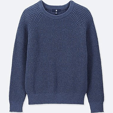 KIDS WAFFLE CREW NECK LONG-SLEEVE SWEATER, BLUE, medium