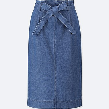 WOMEN HIGH WAIST DENIM BELTED NARROW SKIRT