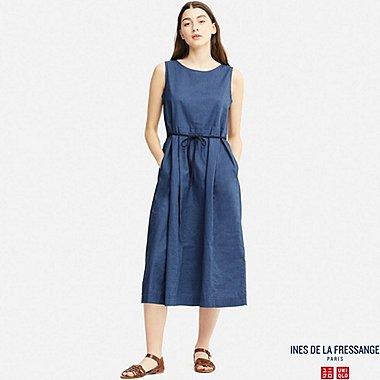 WOMEN IDLF LINEN BLEND A-LINE SLEEVELESS DRESS, BLUE, medium