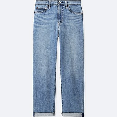 WOMEN HIGH-RISE BOYFRIEND-FIT JEANS, BLUE, medium