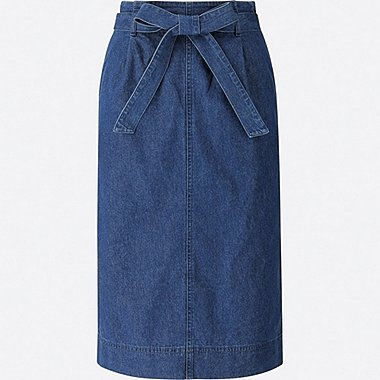 WOMEN HIGH-WAIST DENIM BELTED NARROW SKIRT, BLUE, medium