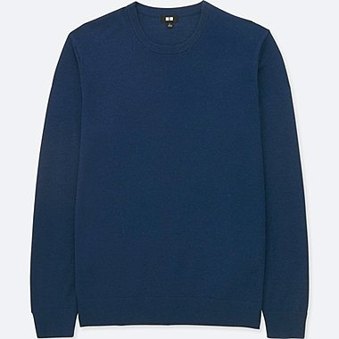 MEN EXTRA FINE MERINO CREWNECK LONG-SLEEVE SWEATER, BLUE, medium