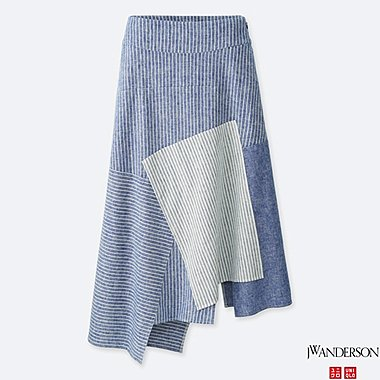 women j.w. anderson linen cotton long flare skirt