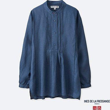 Damen INES 100% Premium Leinen Hemd (Stehkragen)