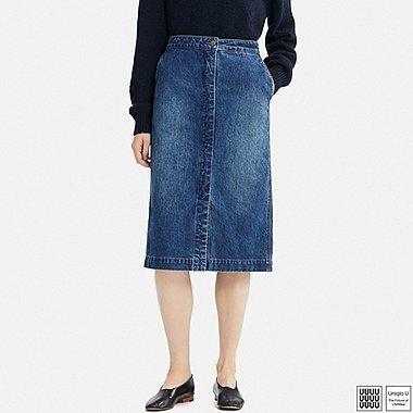 Damen U Midirock aus Baumwolle