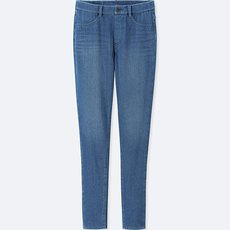 WOMEN HEATTECH DENIM LEGGINGS PANTS, BLUE, large