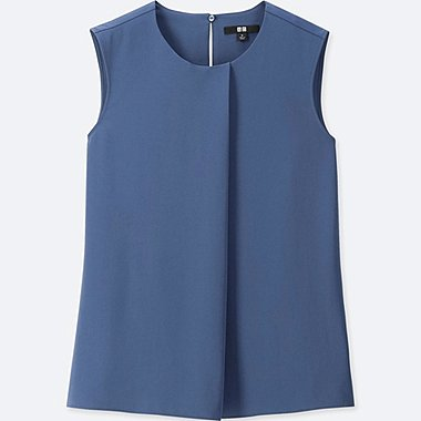 WOMEN DRAPE SLEEVELESS BLOUSE, BLUE, medium