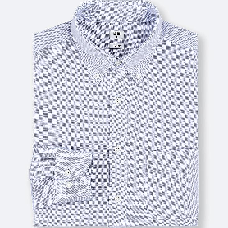 MEN EASY CARE COMFORT LONG-SLEEVE SHIRT, BLUE, large