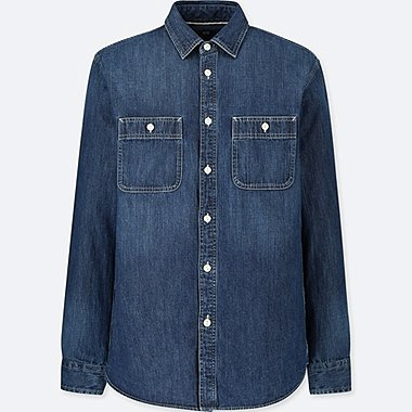 MEN DENIM WORK SLIM-FIT LONG-SLEEVE SHIRT, BLUE, medium