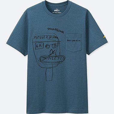 MEN SPRZ NY GRAPHIC T-SHIRT (JEAN-MICHEL BASQUIAT), BLUE, medium