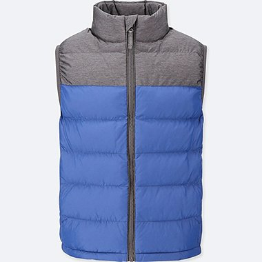 BOYS LIGHT WARM PADDED VEST, BLUE, medium