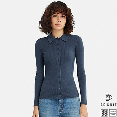 WOMEN U 3D EXTRA FINE MERINO KNITTED SHIRT, BLUE, medium