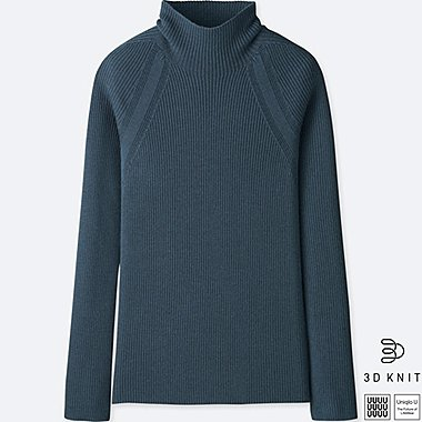 WOMEN U 3D EXTRA FINE MERINO RIBBED SWEATER, BLUE, medium