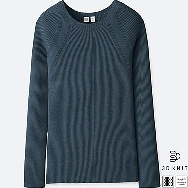 WOMEN UNIQLO U 3D EXTRA FINE MERINO RIBBED CREW NECK SWEATER