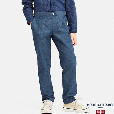 KIDS CHAMBRAY COTTON TUCK PANTS (INES DE LA FRESSANGE), BLUE, medium