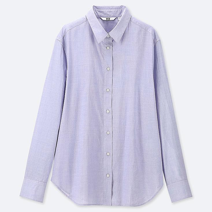 WOMEN SOFT COTTON LONG-SLEEVE SHIRT, BLUE, large