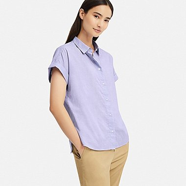 WOMEN SOFT COTTON SHORT-SLEEVE SHIRT, BLUE, medium