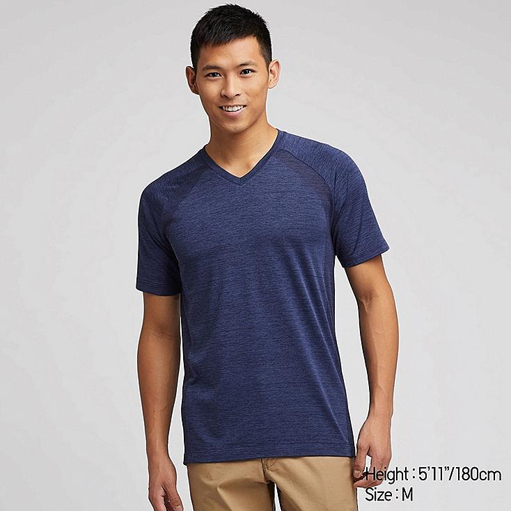 MEN DRY-EX V-NECK SHORT-SLEEVE T-SHIRT (ONLINE EXCLUSIVE), BLUE, large