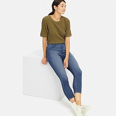 PANTALON LEGGING COURT EN DENIM ULTRA STRETCH FEMME