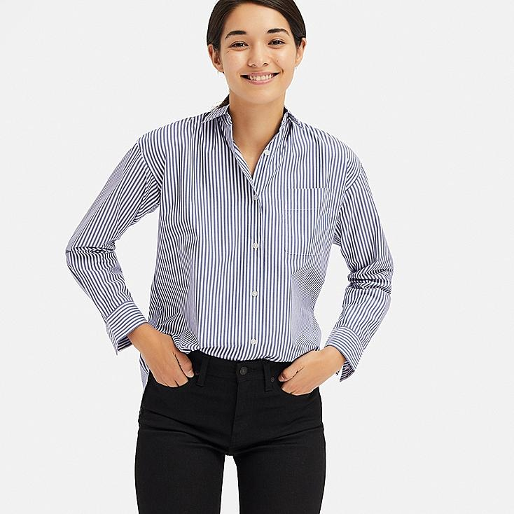 WOMEN EXTRA FINE COTTON STRIPED LONG-SLEEVE SHIRT, BLUE, large