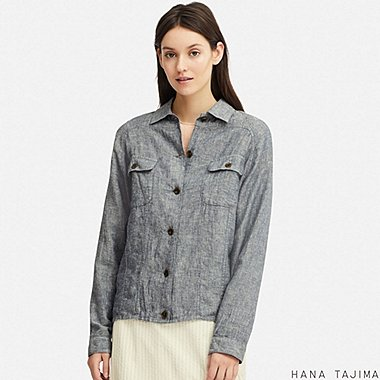 WOMEN LINEN BLENDED OVERSIZE SHORT JACKET (HANA TAJIMA), BLUE, medium