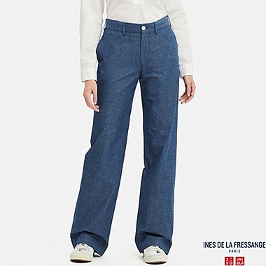 WOMEN CHAMBRAY COTTON WIDE PANTS (INES DE LA FRESSANGE), BLUE, medium