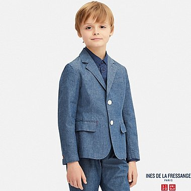 KIDS CHAMBRAY COTTON BLAZER (INES DE LA FRESSANGE), BLUE, medium