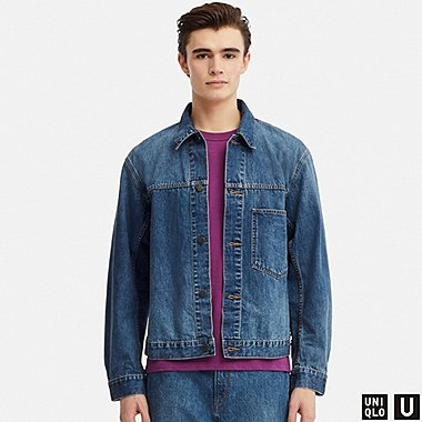 MEN U DENIM JACKET, BLUE, medium