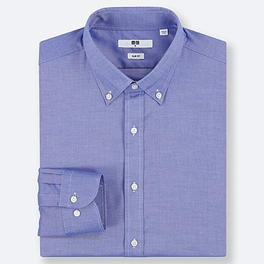 MEN EASY CARE OXFORD STRETCH SLIM-FIT LONG-SLEEVE SHIRT, BLUE, medium