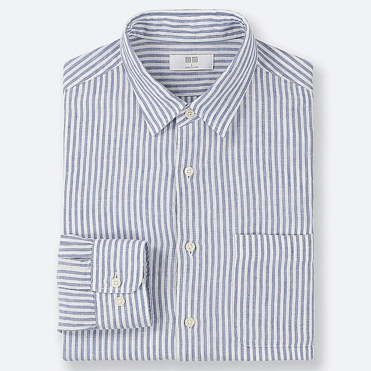 MEN PREMIUM LINEN STRIPED LONG-SLEEVE SHIRT, BLUE, large